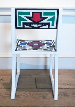 Untitled (Colorful Geometric Hand-Painted South African Chairs)