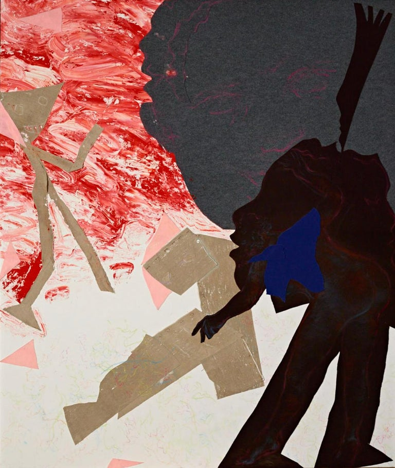 Oliver Lee Jackson Figurative Painting - No. 5 (Abstract Figurative Mixed Media Painting)