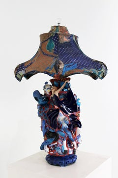 """Tangled Up in Blue"" mixed media, functional, found & broken figurine pieces"