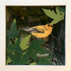 """Prothonotary Warbler in Bottomland Forest"" screenprint in shadow box, birds"