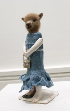 """All Dressed Up"" mixed media, needle felted wool, llama, small, sculpture"