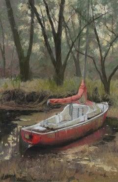 """Twilight"" original soft pastel on paper, en plein air, boat, marsh"