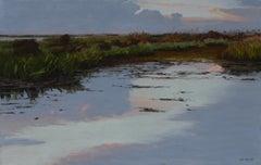 """""""Fall Evening"""" original soft pastel on paper, en plein air landscape, waterscape"""