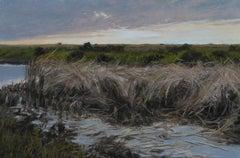 """Marsh Grass at Dusk"" original soft pastel on paper, en plein air landscape"