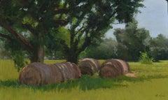 """Hay Bales"" original soft pastel on paper, en plein air landscape, farm field"