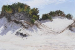 """Dunes, Horn Island"" soft pastel on paper, en plein air landscape, beach"