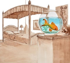 """Fish Named Swimmer"" ink and watercolor illustration, bedroom scene, fish"