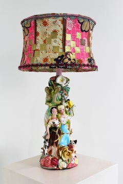 """The L Lamp"" mixed media, functional, assembled found & broken figurine pieces"