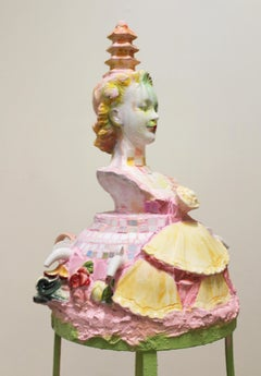 """Cake"" mixed media 3D sculpture, female bust, assembled found objects"