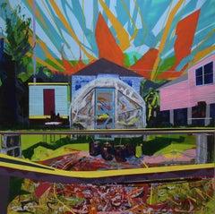 """The Last Season: South Gardens"" acrylic on panel, bright, urban garden"