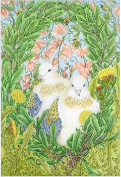 """""""Gift of the Spirit: Fortitude"""" colored pencil & watercolor, doves, religious"""