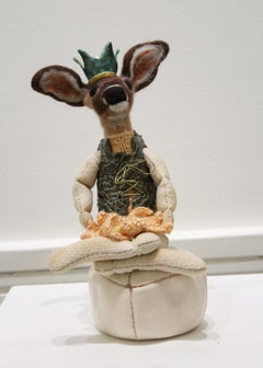 """The Guide"" mixed media, ceramic, felted wool, small, original deer sculpture"