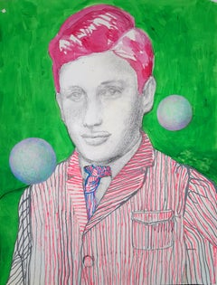 Eline Meyer: Freddy; portrait, mixed technique