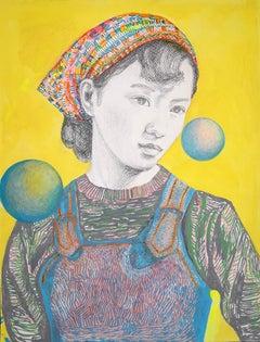 Eline Meyer: Miju; portrait, mixed technique