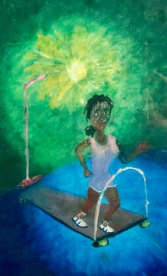 CALORIE BURNER(THIRD HOUR) Signed Oil Pastel on Paper, Visionary Art, Treadmill