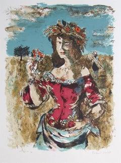 HARVEST QUEEN Signed Original Lithograph, Female Portrait, French Landscape