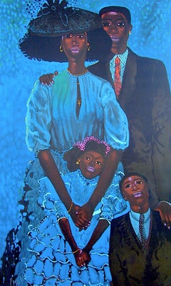 FAMILY IN BLUE Signed Original Lithograph, Formal Black Family Portrait