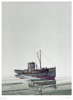 CAY RUNNER Signed Original Lithograph, Realistic Runner Boat, Marine Art