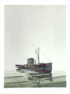 CAY RUNNER Signed Lithograph, Realistic Runner Boat on Calm Water, Marine Art