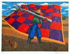 GEECH Signed Lithograph, African American Gullah Geechee Culture Checkered Quilt