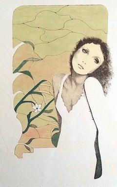 TRISTESSE Signed Original Lithograph w Blind Embossing Sensitive Female Portrait