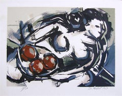 FEMALE NUDE WITH FRUIT Original Stone Lithograph Expressionist Nude, Neutrals
