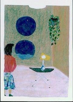 RETREAT ROOM, Signed Original Oil Pastel on Paper Grocery Bag, Visionary Art
