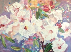 CHINESE RHODODENDRONS Hand Drawn Lithograph, Watercolor Floral, Pastel Colors