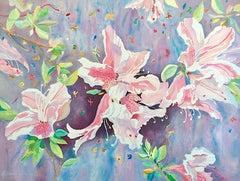 JAPANESE AZALEAS Signed Lithograph, Pastel Colors, Botanical Watercolor