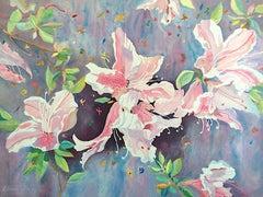 JAPANESE AZALEAS Signed Lithograph, Pastel Floral Watercolor, Botanical Art