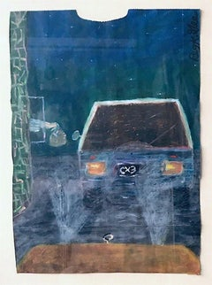 FAST FOOD BREAKFAST Signed Oil Pastel on Paper, Visionary Art, Drive-Thru Window