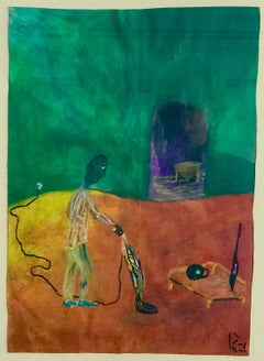HIS NEW DEN Signed Oil Pastel on Paper, Visionary Art, Upright Vacuum Cleaner