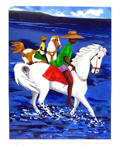 FATHER & SON, Signed Lithograph, African American, Gullah Culture, White Horse