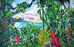 BEYOND EARTHS BEAUTY Signed Original Lithograph, Colorful Tropical Landscape