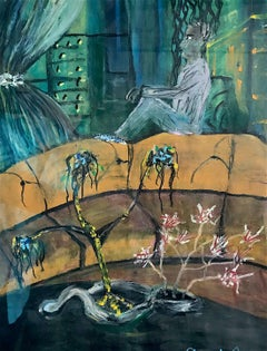 SHOULD I STAY IN or GO OUT? Signed Original Oil Pastel on Paper, Visionary Art