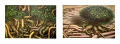 TREE ROOTS I & II,  set of 2 Signed Lithographs, Nature Fantasy, Surreal Trees