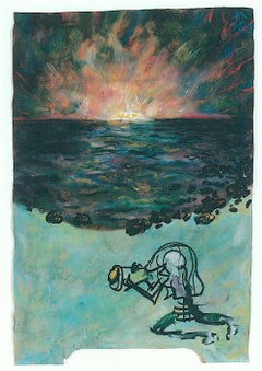 PHOTO SNEAK Signed Original Oil Pastel on Paper, Photographer, Visionary Art