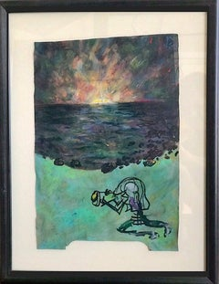 PHOTO SNEAK Signed Oil Pastel, Abstract Landscape, Photographer, Visionary Art