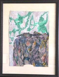 LAST HOUSE ON KENCH AVE. Signed Oil Pastel, Abstract Landscape Ranch Style House