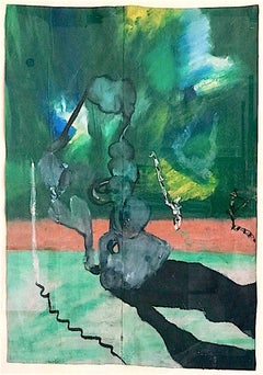 CURIOUS PHENOMENA Signed Original Oil Pastel, Free Form, Shadow, Visionary Art
