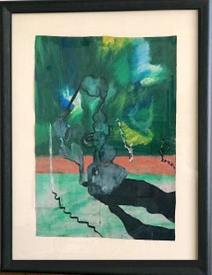 CURIOUS PHENOMENA Signed Oil Pastel, Abstract Landscape, Green, Salmon Pink