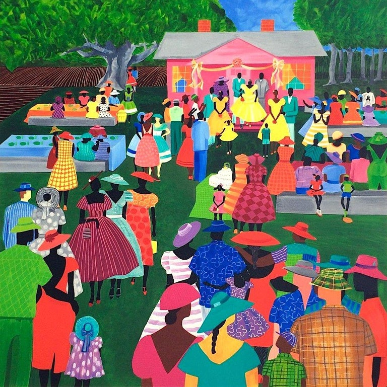 Jonathan Green Figurative Print - THE RECEPTION Signed Lithograph, Gullah Family Wedding, African American