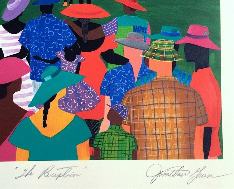THE RECEPTION Signed Lithograph, Gullah Family Wedding, African American - Blue Figurative Print by Jonathan Green