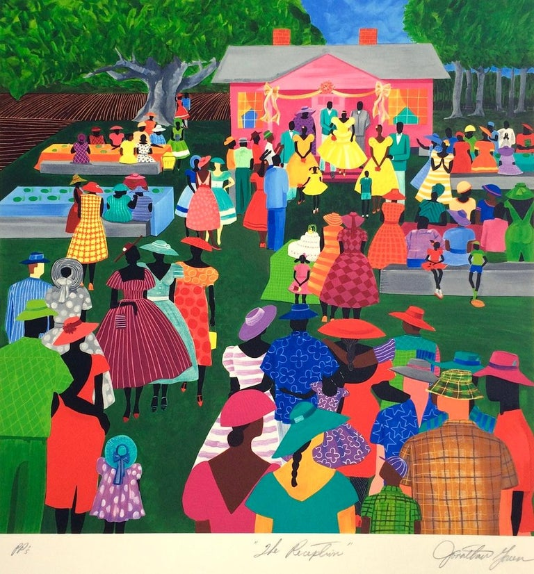 THE RECEPTION Signed Lithograph, Gullah Family Wedding, African American - Print by Jonathan Green