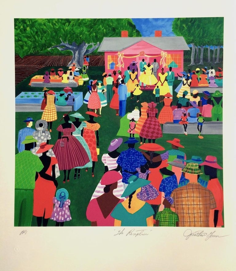 THE RECEPTION by the acclaimed artist JONATHAN GREEN pictures a colorful Lowcountry wedding in rural South Carolina; a community celebration gathering family and friends together in the spirit of Gulllah Culture. This vibrantly colored limited