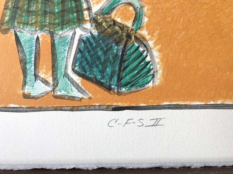 C F S II, Snake Charmer, Signed Lithograph, Coney Island Sideshow, Gold, Green  For Sale 2