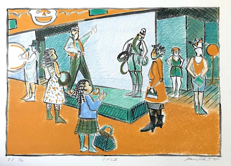 Marie Roberts Interior Print - C F S II, Snake Charmer, Signed Lithograph, Coney Island Sideshow, Gold, Green