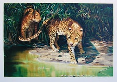 OUT OF THE SHADOWS Hand Drawn Lithograph, Endangered Species, Leopard Portrait