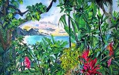 BEYOND EARTHS BEAUTY Signed Original Lithograph, Colorful Tropical Landscape