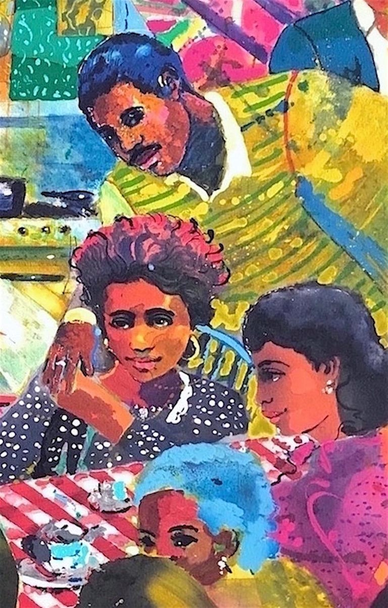 NO PLACE LIKE HOME is a hand drawn, limited edition lithograph by the African American artist Louis Delsarte printed using hand lithography techniques on archival Arches paper 100% acid free. NO PLACE LIKE HOME is a colorful, dream-like interior